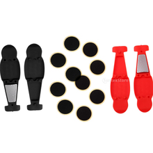 Portable Bike Tyre Levers Mini Bicycle Tool Set Glue-less Tube Patch Puncture Repair Kit Red and Black handy portable tyre repairing tool kit set for bike transparent