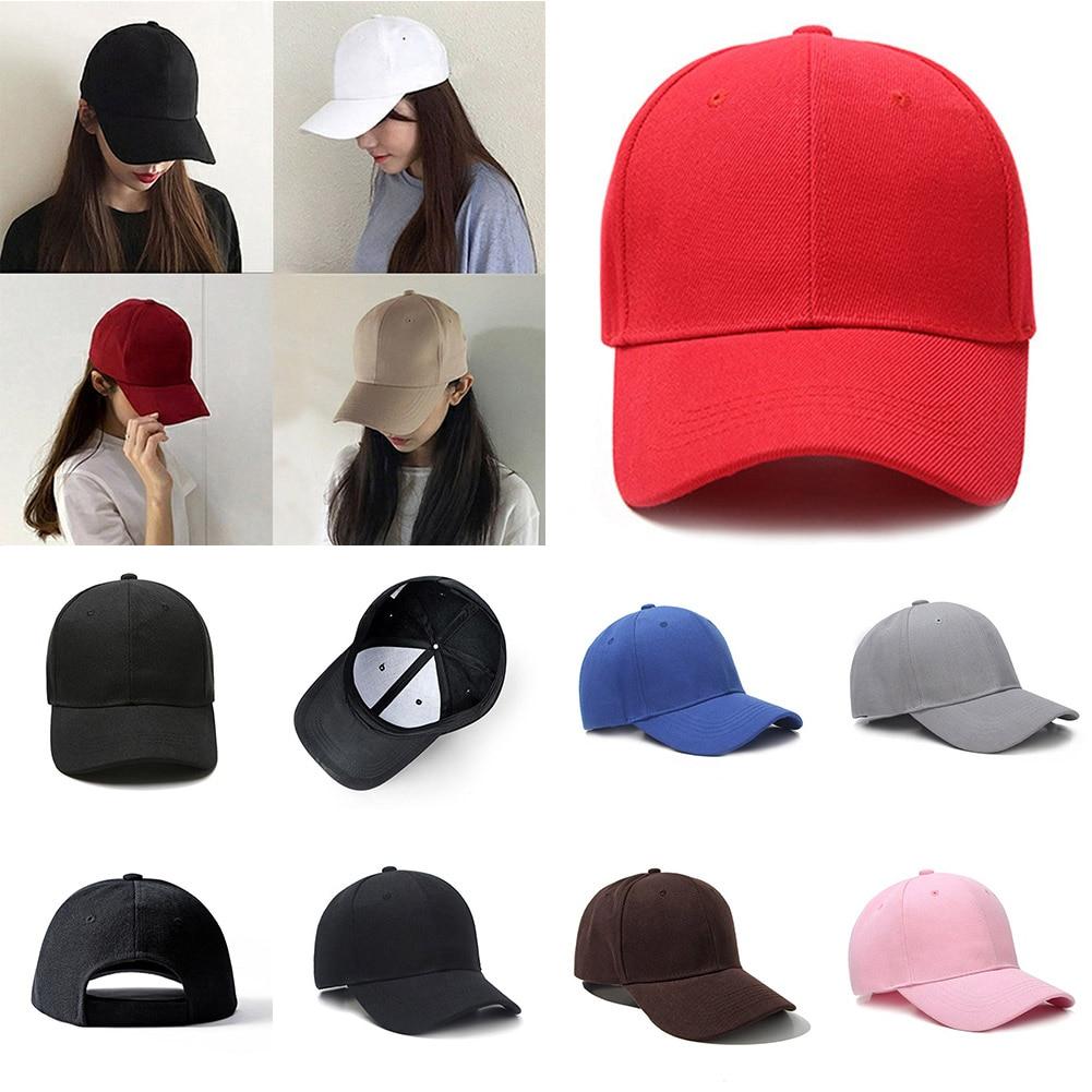 New Men Women Baseball Cap Plain Curved Sun Visor Hat Solid Color Fashion Adjustable Caps