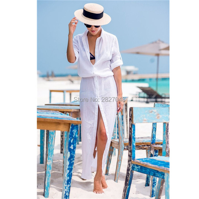 Saida De Praia 2019 Chiffon Bathing suit cover up Button Long Beach Coverups Women Maxi Beach Dress Cover-ups Loose Beachwear