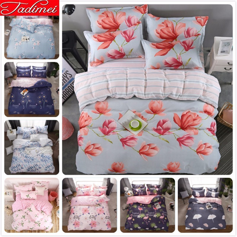 Flower Pattern Duvet Cover Bedding Set Adult Kids Child Soft Cotton Bed Linen Single Full Queen King Size Bedspreads Bedclothes