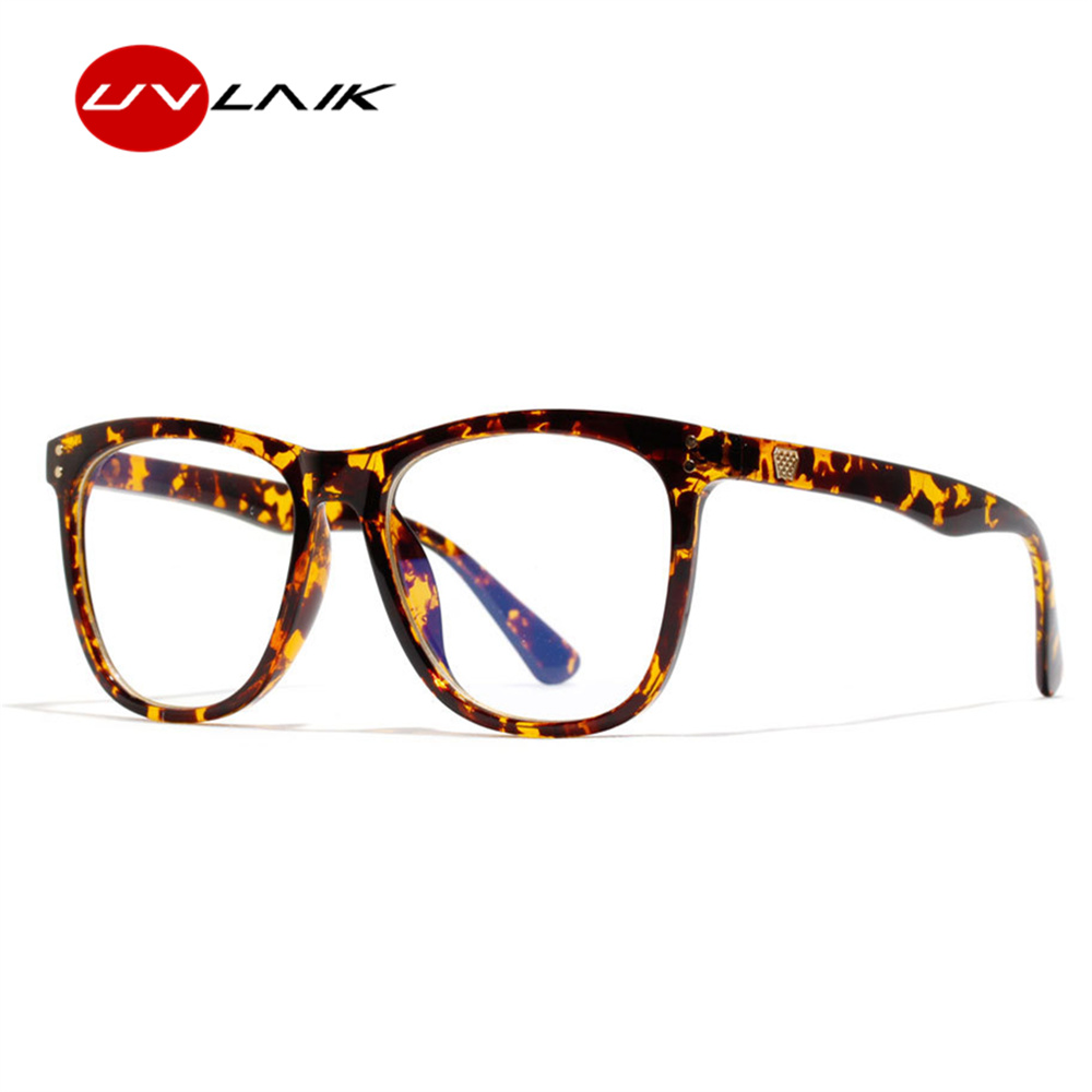 UVLAIK Optical Blue Light Blocking Glasses Frames Women Retro Anti Blu-ray Spectacle Frame Men Vintage Transparent Eyeglasses