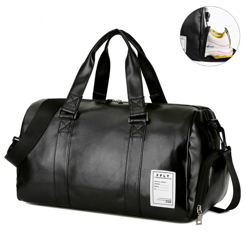 Gym Bag Leather Sports Bags Big MenTraining Tas For Shoes Lady Fitness Yoga Travel Luggage Shoulder Black Sac De Sport