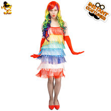 DSPLAY Original Newly Design Cute Girl Woman Dancer Deluxe Outfits Carnival Adult Sexy Colorful Flapper Party Costume