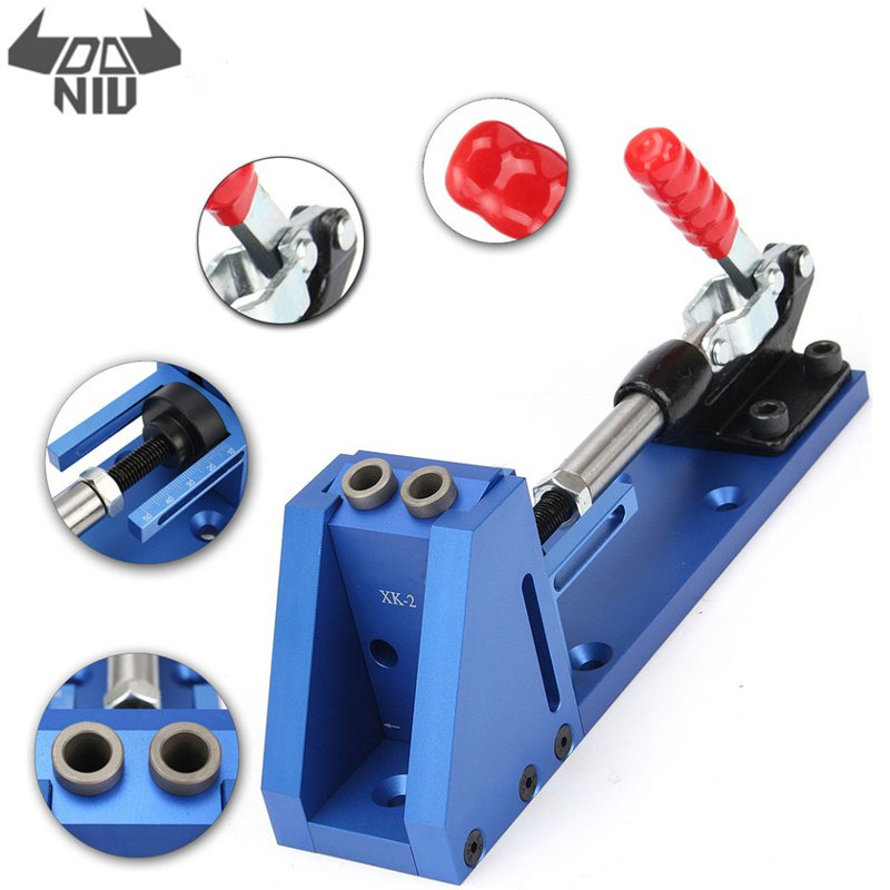 DANIU XK 2 Pocket Slant Hole Jig Wood Working Carpenter Kit Toggle Clamps With Drilling Bit