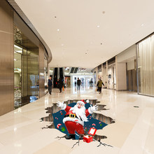 Santa Claus Decorative Christmas Wall Floor Stickers Abstract PVC Removable 3D Snowflake Decals Sticker for New Year Gifts Decor(China)