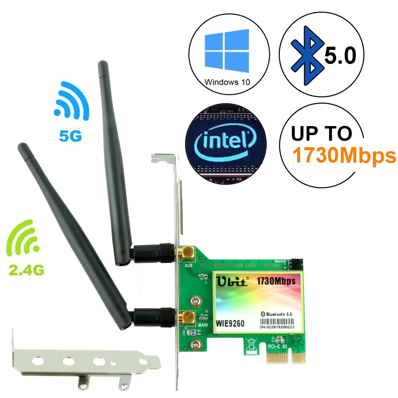Carte WiFi Ubit, AC 1730 Mbps, carte réseau sans fil double bande Bluetooth 5.0, adaptateur 9260 PCIe, sans fil PCI-E pour ordinateur de bureau