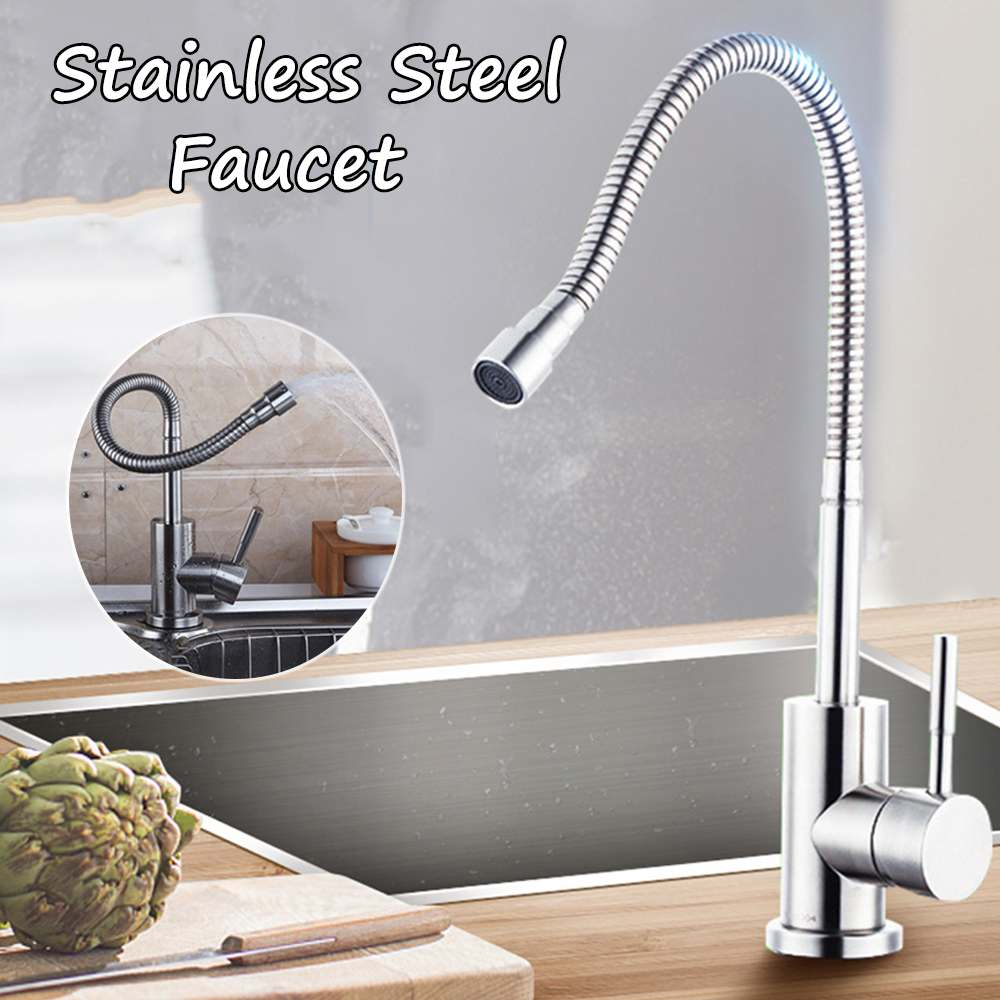 Single Handle Kitchen Sink Faucet Pull Out Brushed Wrench Stainless Steel Kitchen Faucet Vertical Universal Hot And Cold WaterSingle Handle Kitchen Sink Faucet Pull Out Brushed Wrench Stainless Steel Kitchen Faucet Vertical Universal Hot And Cold Water
