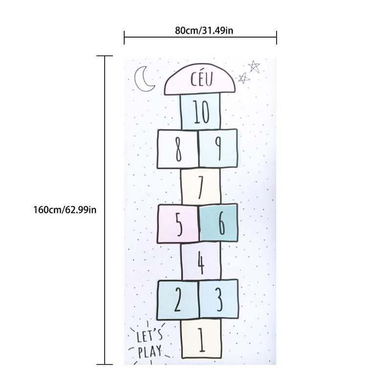 Bébé numéro tapis treillis lettre imprimé tapis de jeu coton jeux tapis chambre décoration enfants literie jouet enfants cadeau 80*160 cm - 6