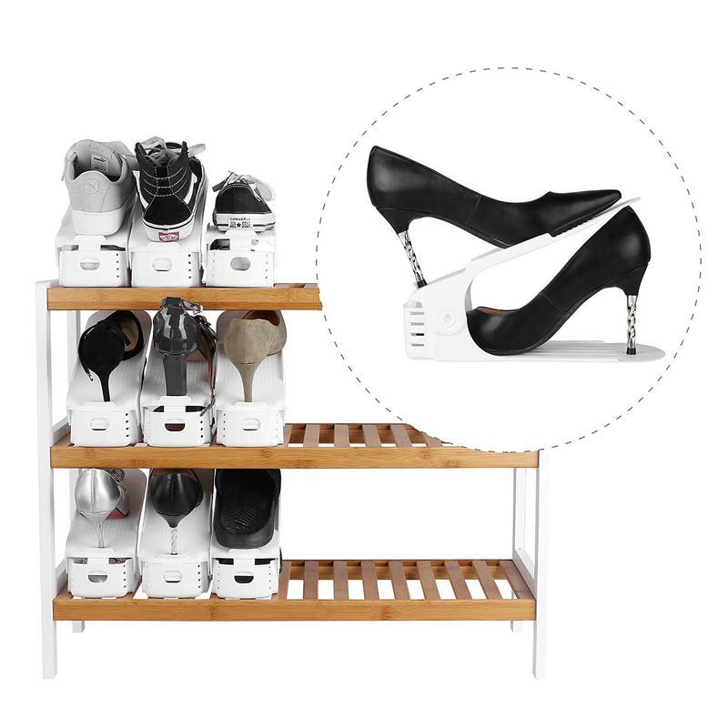 10 pieces adjustable plastic shoe racks storage organizer home double layer stand rack for men ladies shoes white organizer