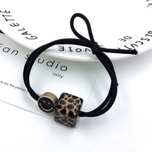 Hot Sale Charms Hair Rope For Women Fashion Leopard Cube Beads Ropes Channel Knot Elastic Bands Girls Korean brand