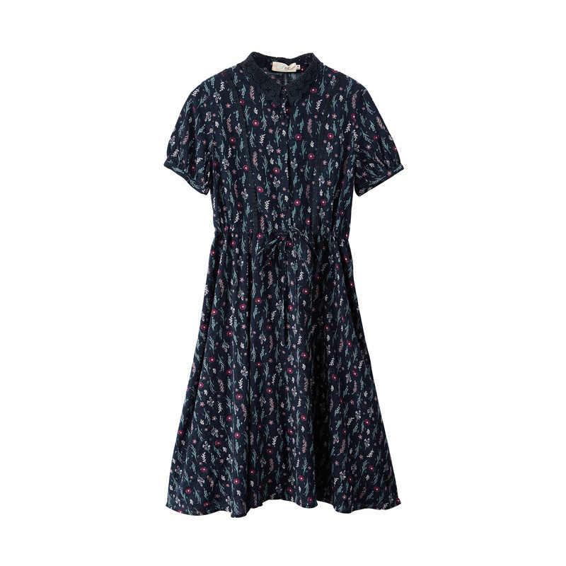 INMAN 2019 Лето Новое поступление отложной воротник Ретро литературный цветочный пасторальный подчеркивающий талию тонкое ТРАПЕЦИЕВИДНОЕ женское платье
