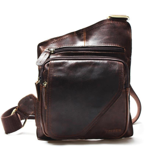 Image 2 - New High Quality Vintage Casual Crazy Horse Leather Genuine Cowhide Men Chest Bag Small Messenger Bags For Man  Shoulder Bags