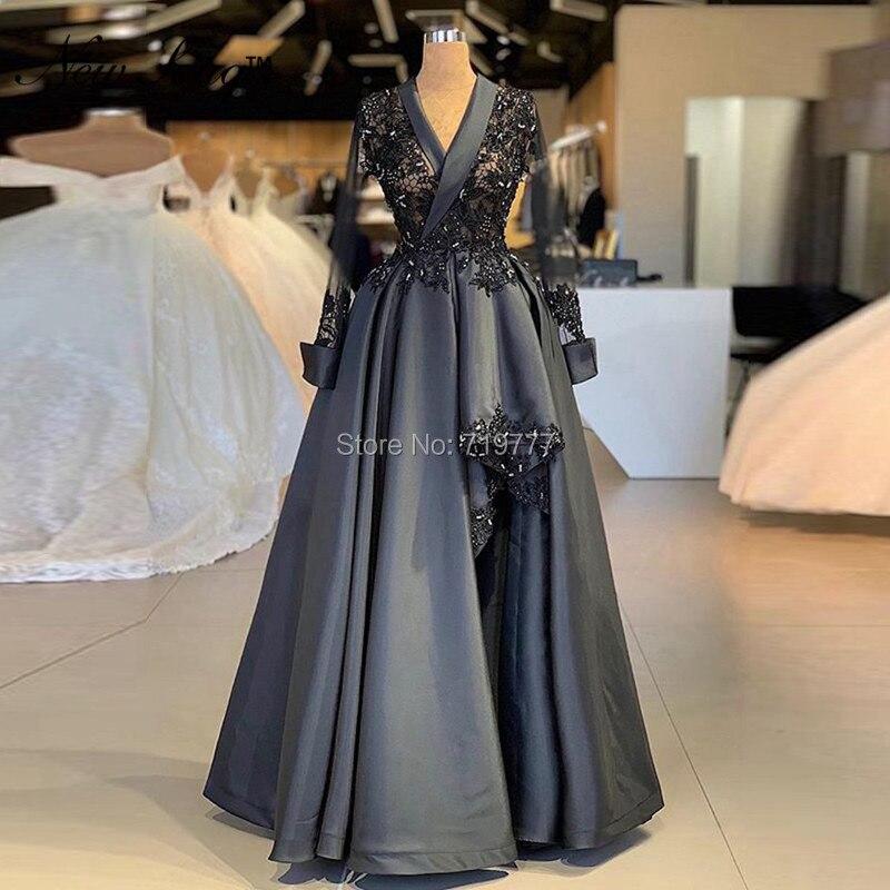 Черный формальный аппликация для вечернего платья бисером Арабский Вечерние свадебное платье кружева одежда с длинным рукавом с v образным
