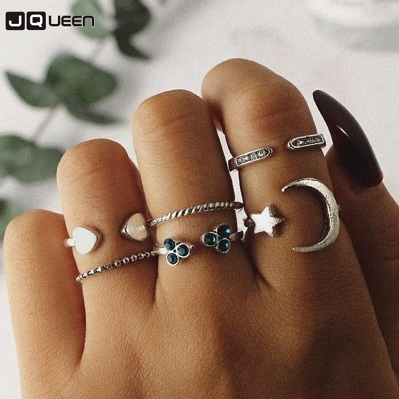 5pcs Set Ethnic Ring Circle Finger Gold Silver Moon Star