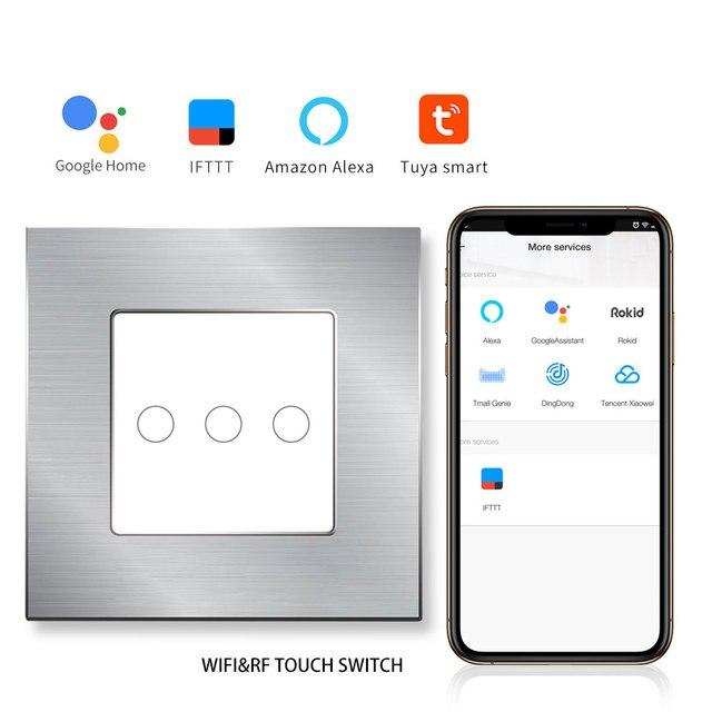 Interruptor táctil WIFI bingoelece 3 Gang 1 Way remoto inalámbrico RF 433,92 MHZ interruptor de pared Control de automatización del hogar inteligente por tuya APP