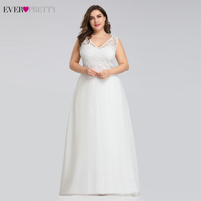 Image 4 - Ever pretty Plus Size Lace Wedding Dresses A Line Floor Length Sleeveless Illusion Elegant Wedding Gown 2019 Vestido De Noiva-in Wedding Dresses from Weddings & Events