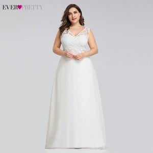 Image 4 - Ever pretty Plus Size Lace Wedding Dresses A Line Floor Length Sleeveless Illusion Elegant Wedding Gown 2020 Vestido De Noiva