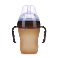 Navo silver Baby silicone Bottle Green 180ml baby milk feeding bottle with handle