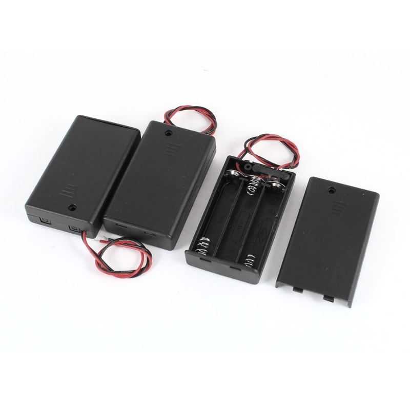 3 Pcs Two Wire ON/OFF Switch 3 x 1.5V <font><b>AAA</b></font> Battery Holder Case w Cover image