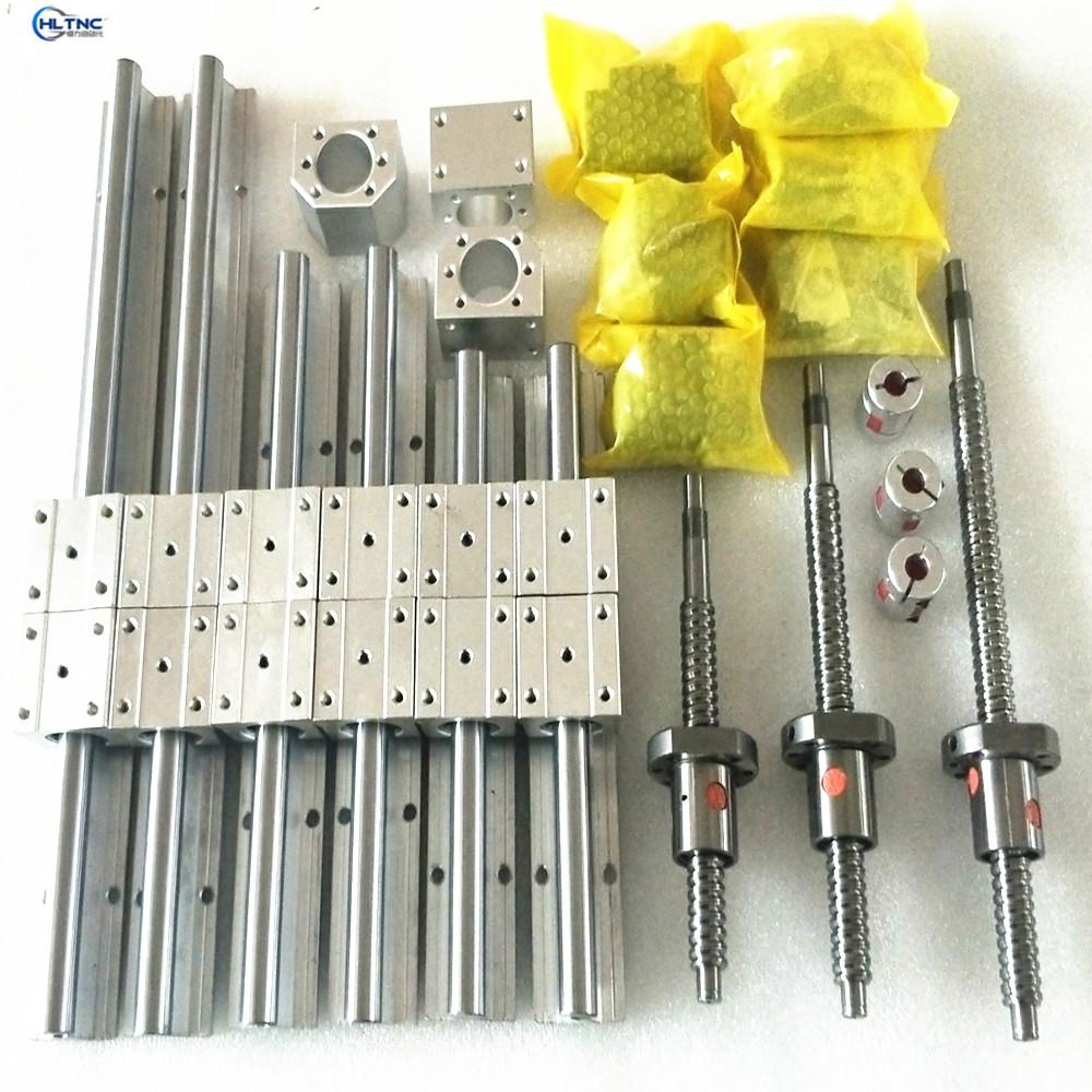 6set linear guide way RailSBR16+ 4 ballscrews balls screws 1605-500/1100/1000/1000mm + BK12 /BF12 +4 couplings