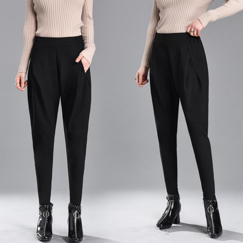 England Style Harem Pants Women Spring High Waisted Black Pencil Pants Trousers Ladies Elegant Skinny Pants Plus Size Breeches