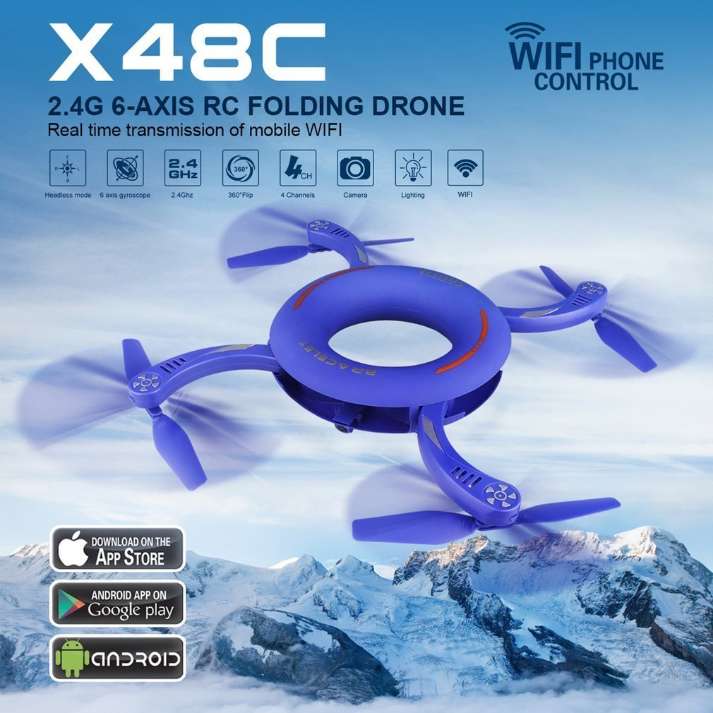 X48 1 Circle WIFI FPV 720p Camera RC Drone 2.4g Folding Rotate Dimension Maintenance Fixed Height Round RC Quadcopter