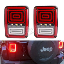 цена на free ship 2pcs multi-functions snake LED tail light Wrangler brake signal reverse turn light for Rubicon JK 07-15 US or Euro