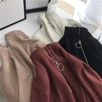 Корейский модный свитер и пуловер Женская одежда осень-зима молния водолазка с длинным рукавом Высокий эластичный однотонный вязаный свит...