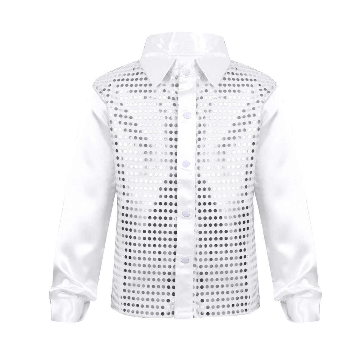 Boy Shirts for Children Boys Glittery Long Sleeve Shirt Kids Big Choir Jazz  Hip Hop Dance c1a404a73caf