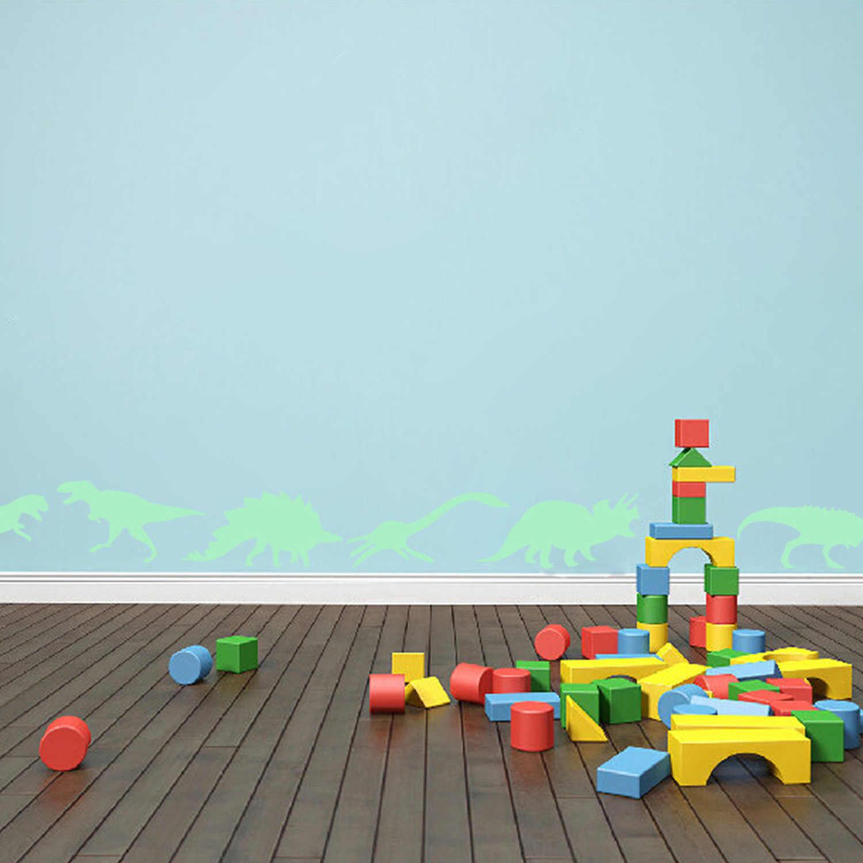 Дети 9 шт. многоразовые модные 3D Динозавр стиль световой светится в темноте наклейки на стену Серебристые окна мигающий игрушки с наклейками