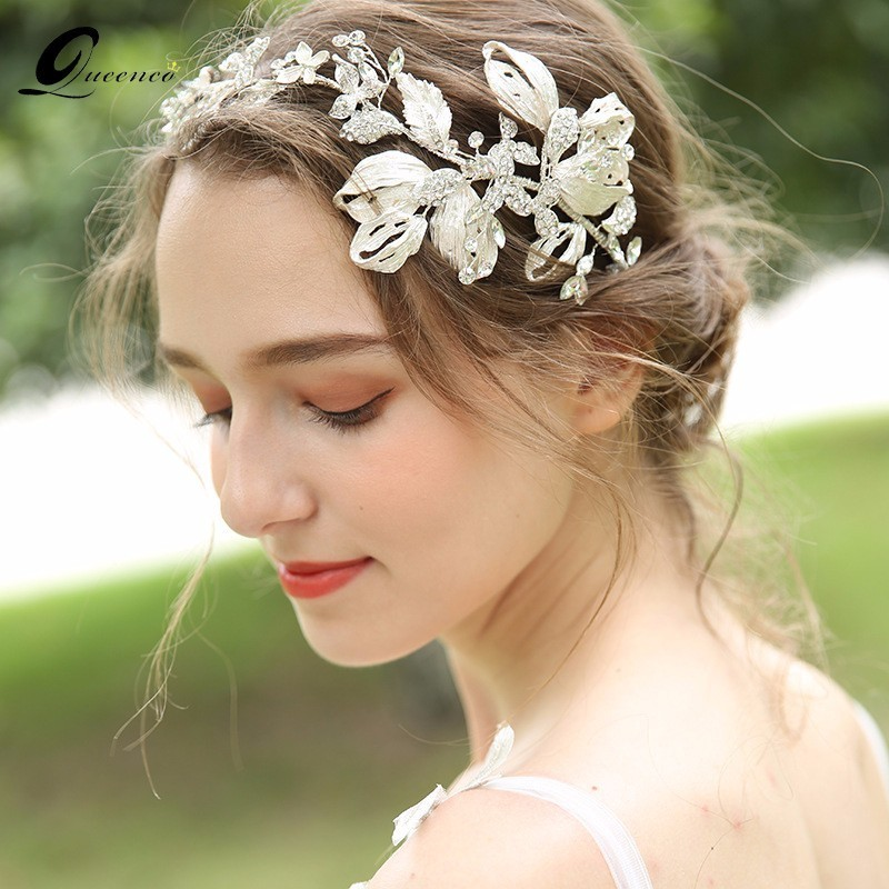 Luxury Silver Leaf Headbands Alloy Wedding Hair Accessories Hair Decoration Pearl Rhinestone Head Wear Hair Ornaments For Girl