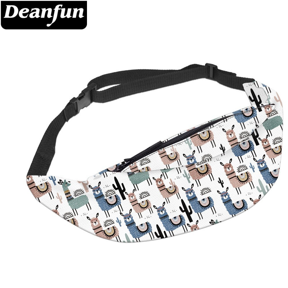 Deanfun Water Resistant Cute Fashion Llama Men Fanny Packs Cactus Durable Waist Pack Bumbag Lovers Gift  YB-63
