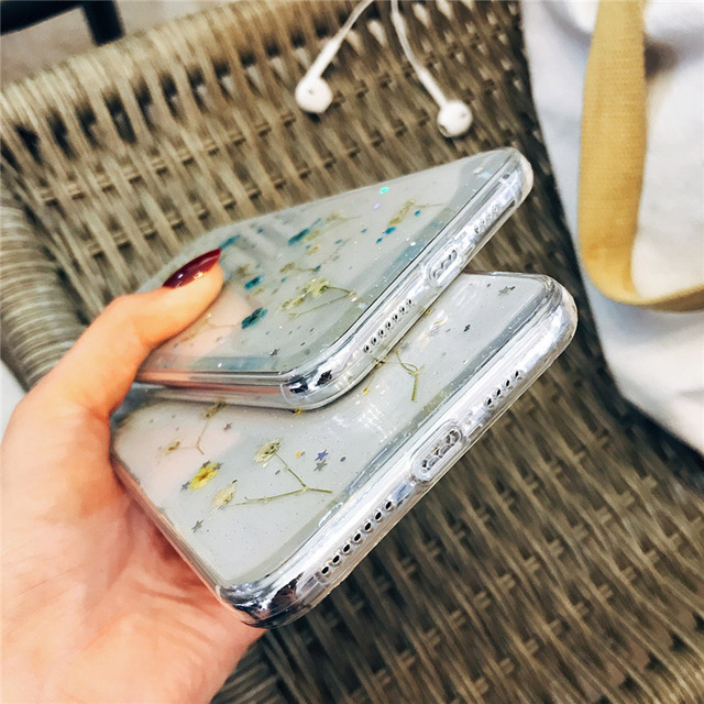 Transparent Flower Pattern Phone Case