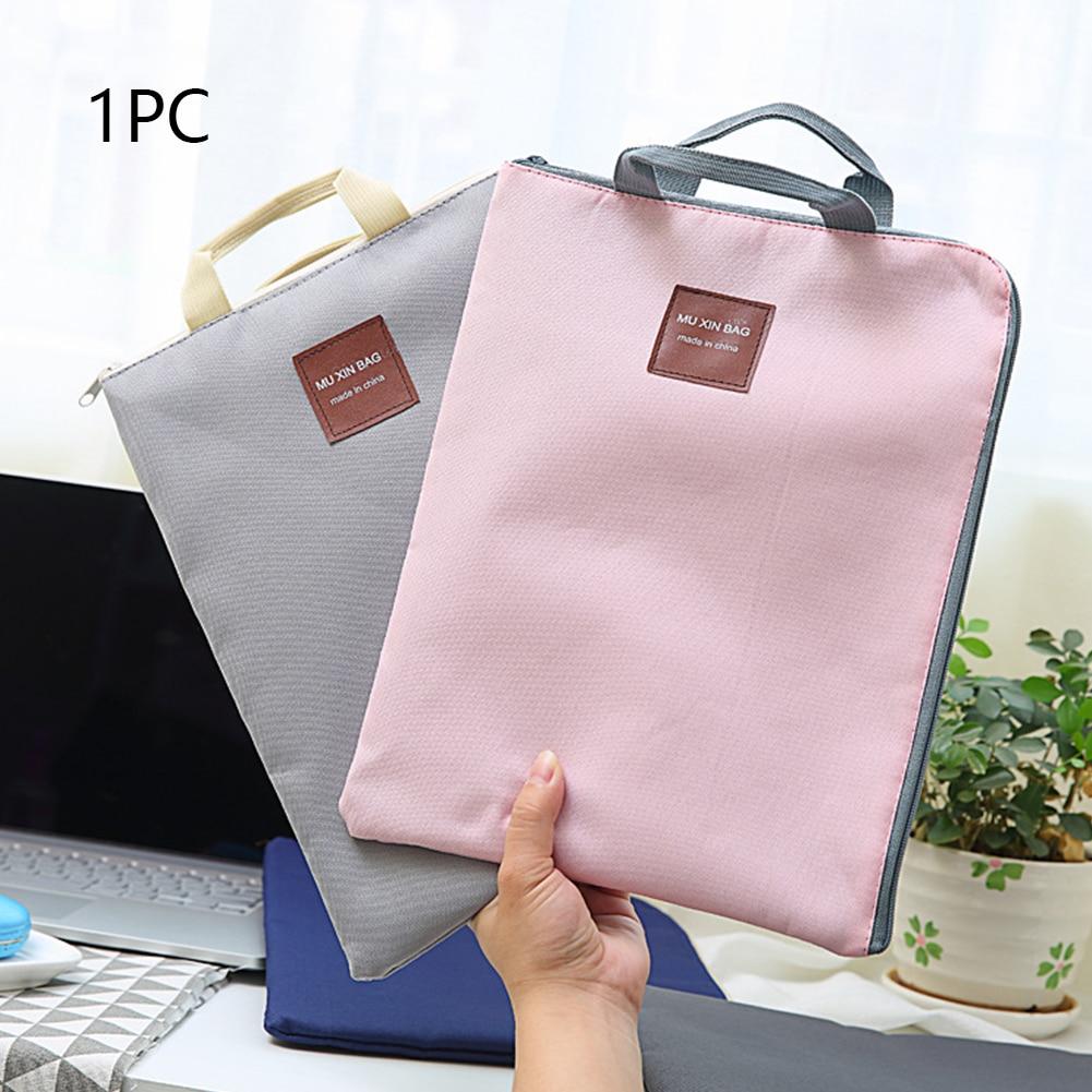 A4 Document Bag Stationery Double Layer With Handle Nylon Organizer Folder School Office Portfolio Portable Zipper File Pocket