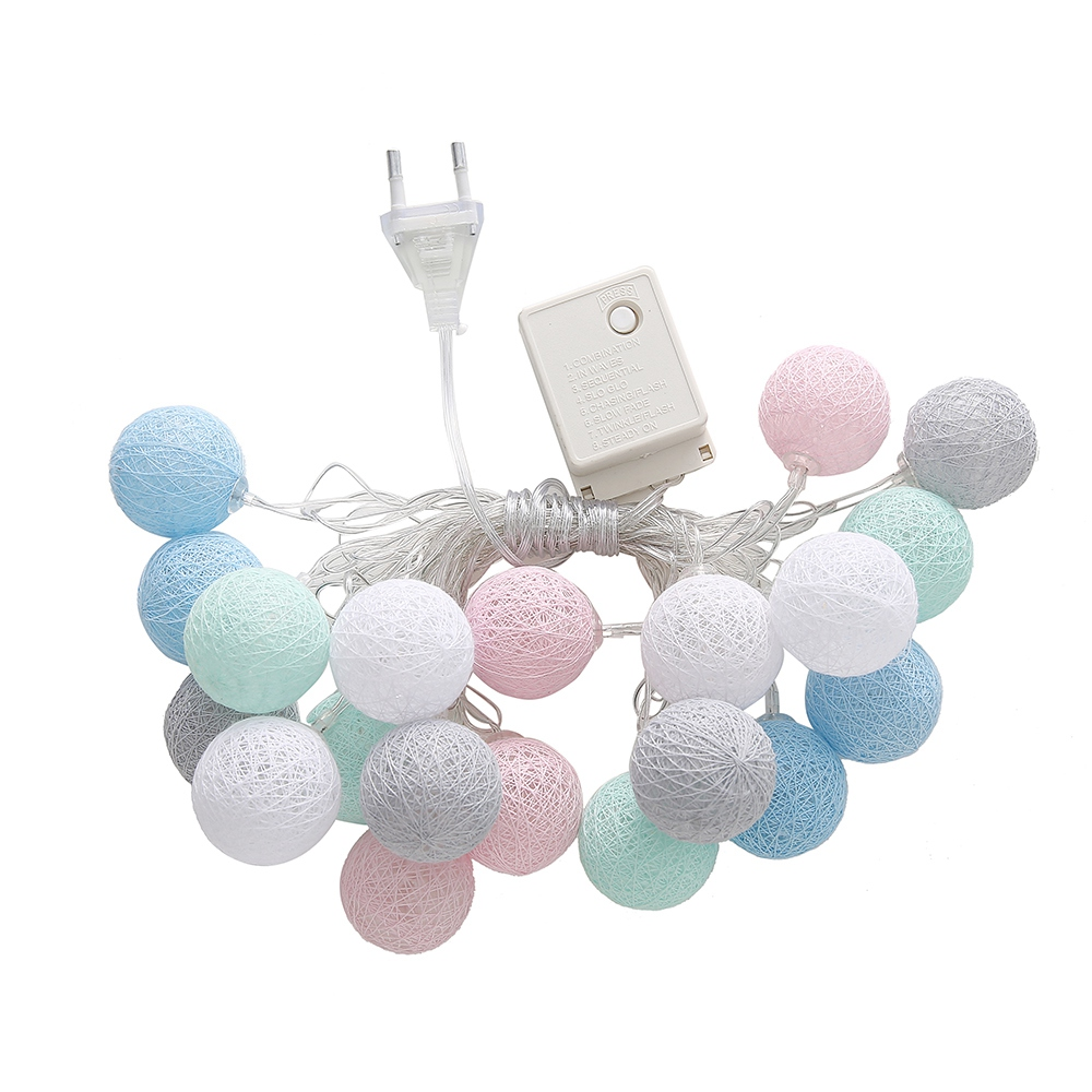 Hot Sale Cotton Ball Fairy String Lights 3.55M 20 Led String Lights For Wedding Party Home Room Bedroom Wedding Decoration EU Hot Sale Cotton Ball Fairy String Lights 3.55M 20 Led String Lights For Wedding Party Home Room Bedroom Wedding Decoration EU