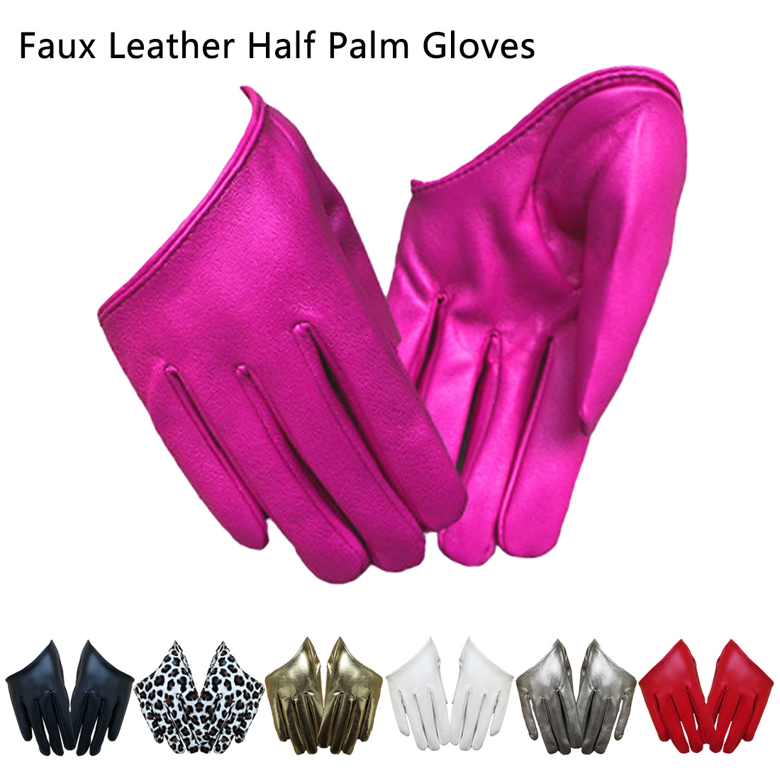 Short Style Women Pu Short Gloves Emulation Genuine Leather Unlined French Gothic Rock Female Leather Gloves