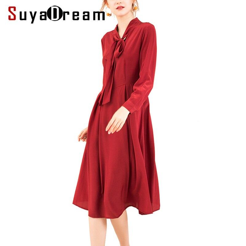 Kadın Giyim'ten Elbiseler'de Kadın Ipek Elbise 23mm 100% GERÇEK IPEK Krep Yay yaka Uzun Elbiseler Kadınlar için Ağır Ipek 2019 Bahar Yeni ofis bayan Elbise Şarap'da  Grup 1