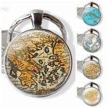 Vintage Map Key Chain Glass Pendant Literary Silver Jewelry Greek Caribbean Thailand Barcelona Hawaii Map Key Ring thailand imports genuine gv new moon key pendant