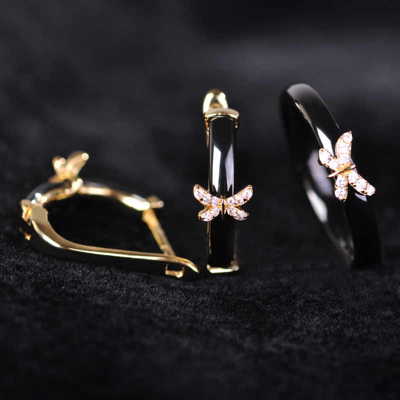 Blucome Black Ceramic Earrings Ring Set Rhinestone Butterfly Accessories Soft Copper Stud Earrings For Bridal Women Jewelry Sets