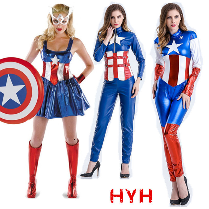 Women Captain America Cosplay Costumes Sexy Halloween Costumes For Women Sexy Costume Superhero Dress For Women
