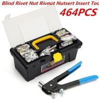 464pcs M3 M4 M5 M6 M8 Ciego Remache Rivet Nut Rivnut Nutsert Insert Alicate Set Steel + Aluminum High Quality Hand Riveting Tool