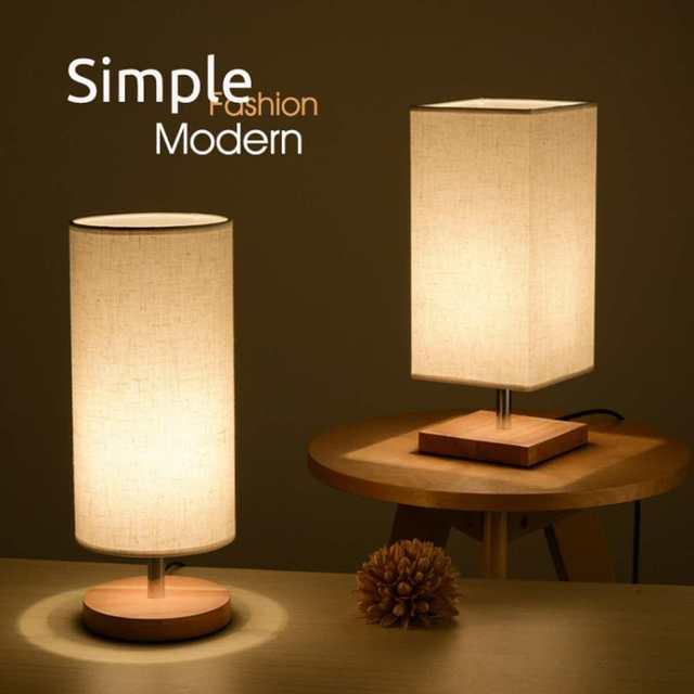 Lampe de bureau en tissu au Design moderne, éclairage de chevet, Base en bois, pour chambre à coucher, salon, bibliothèque des étudiants E27 220V