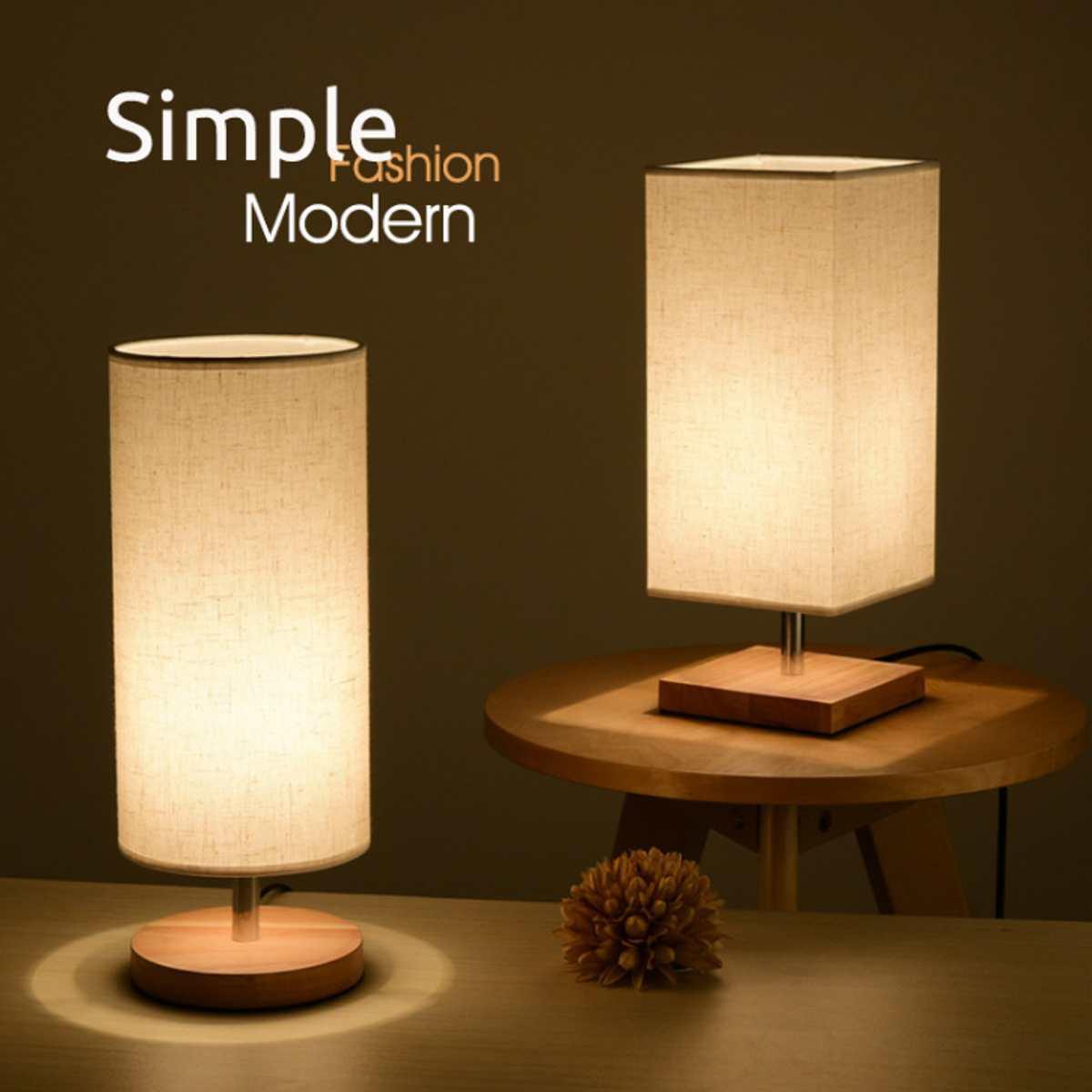 Us 17 67 22 Off Modern Design Cloth Desk Table Lamp E27 220v Bedside Lamp Lights Wood Base For Indoor Bedroom Living Room Lamp Student Bookcase In