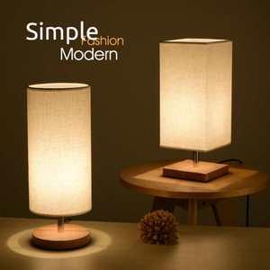 Image 1 - Moderne Design Tuch Schreibtisch Tisch Lampe E27 220V Nacht Lampe Leuchtet Holz Basis Für Innen Schlafzimmer Wohnzimmer Lampe student Bücherregal