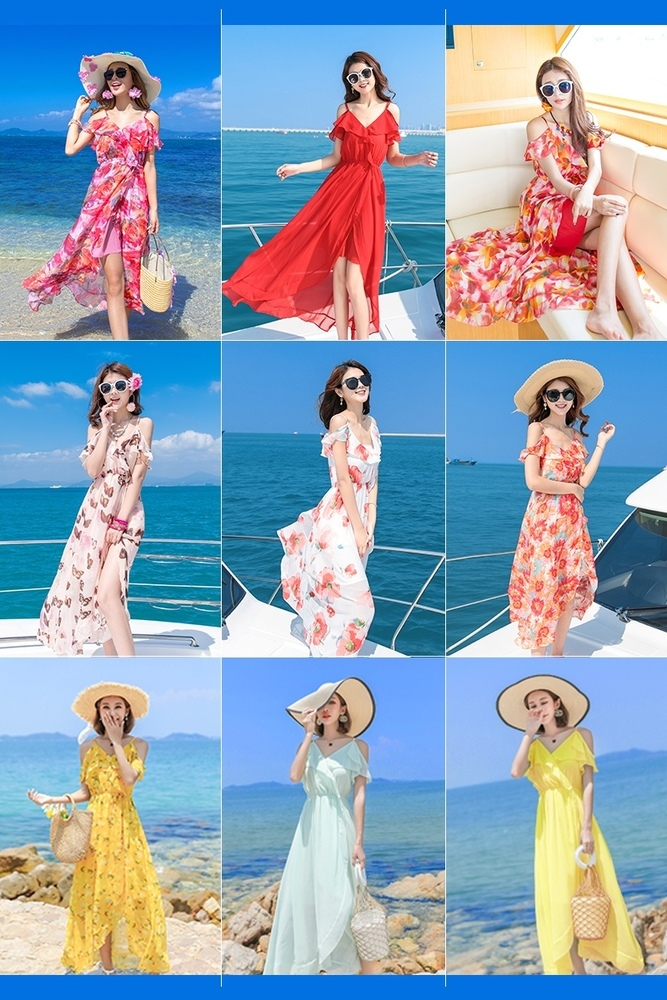 Sexy Floral Print Dress Women 2019 Summer Strap V Neck Backless Chiffon Dress Holiday Beach Party Dresses Vestidos in Dresses from Women 39 s Clothing