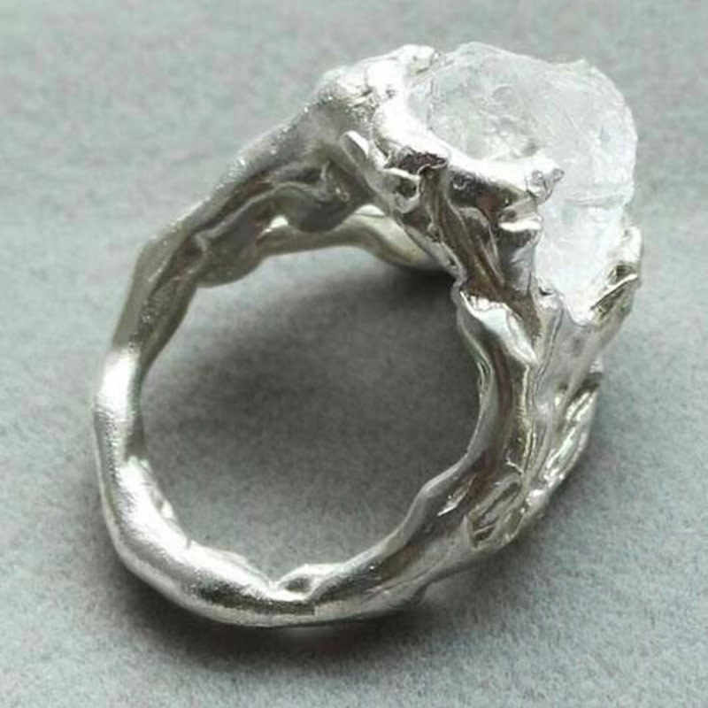 แหวนแหวนหมั้นแหวนชุดเครื่องประดับสร้างสรรค์บุคลิกภาพไม่สม่ำเสมอคริสตัล ringen ผู้ชายเครื่องประดับ Lunar หิน H002