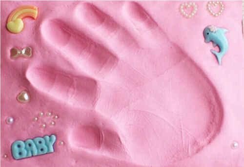 Baby footprint ultra light สเตอริโอ Baby Care Air Drying Soft Clay มือเด็กเท้าลายเซ็นชุดหล่อ DIY ของเล่น paw พิมพ์