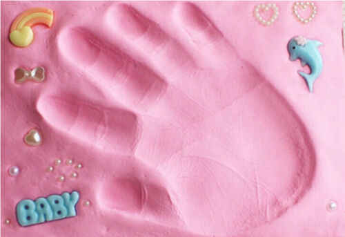 Baby footprint ultra light stereo Baby Care Air Drying Soft Clay Baby hand foot Imprint Kit Casting DIY Toys paw print