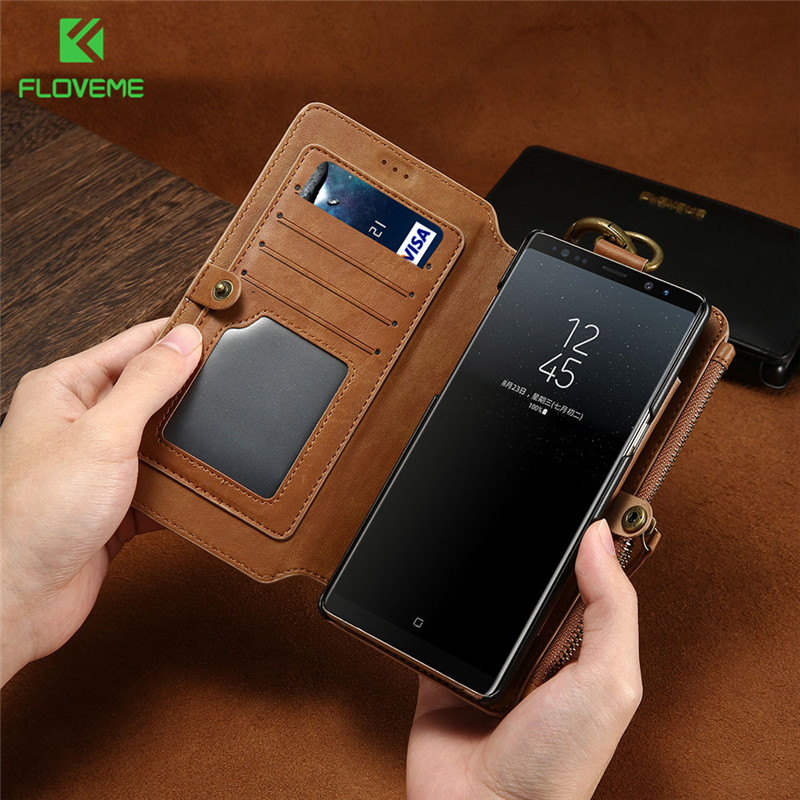 FLOVEME Classic Card Slot Case For Samsung Galaxy Note 9 8 S9 PU Leather Case For Samsung S10 Plus S10e S10 Capinhas Funda Capa in Wallet Cases from Cellphones Telecommunications