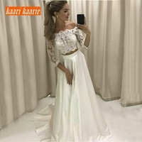 2f3f466cbe Fashion White 2 Piece Wedding Dresses 3 4 Sleeve Boat Neck Sweep Train  Satin Lace Wedding